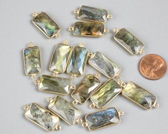 Labradorite Rectangle Gold Plated 11x21mm 1 piece