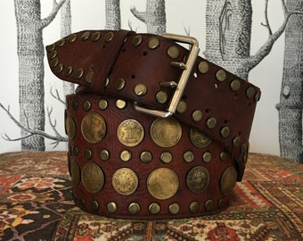 Vintage Bohemian Leather Belt with Coins Original 1960s Era Moroccan Style