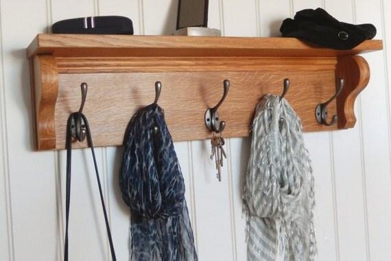 Coat rack with shelf handmade oak wall iron