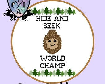 Sasquatch / Bigfoot Hide and Seek World Champ, Funny Cross Stitch Pattern, Quirky Embroidery - PDF, Instant Download