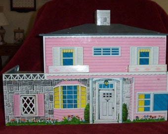 Vintage Dollhouse 1950's-60's by Superior T. Cohn Toys, Cheerful Mid-Century Tin Lithograph & 38 Pieces of Furniture