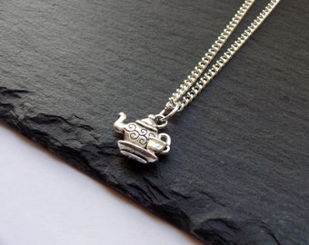Teapot Necklace, Teacup Necklace, Silver Plated Chain, Teacup Gift, Charm Necklace, Gift, Chain Necklace