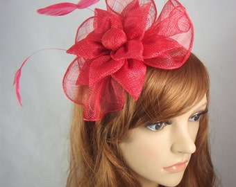 Red Sinamay Corsage & Ruffle Fascinator - Occasion Wedding Races