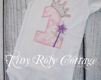Ready to Ship. Birthday Shirt. Princess Crown with Wand. First Birthday Body Suit