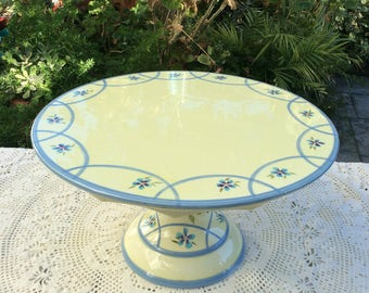 "14"" Capriware cake stand, pedestal Cake plate stand, yellow and blue cake stand, blue flowers, wedding centerpiece, bridal shower, birthday"