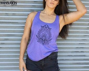 Purple Geometric Lotus Flower // American Apparel Tank