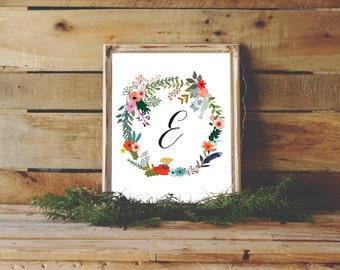 Letter E, Monogram Print, Nursery Monogram, Floral Nursery Decor, E Monogram, Girl Monogram, Letter E Print, E Art Print, Instant Download