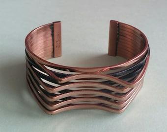"""Vintage Copper Renoir Cuff """"Interplay"""""""