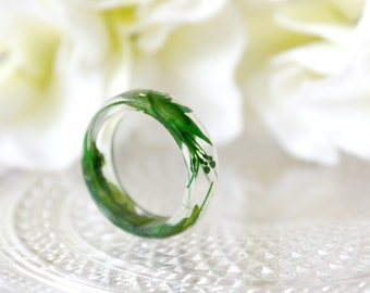 Resin / ring / green/ Fern, Leaf, Grass, Plant, Real Flower Jewelry, Dried Flower, Resin Jewelry, Pressed Flowers, Cool Ring, gift for her