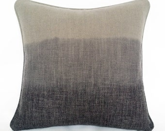 Triple Color Ombre Linen Decorative Pillow with Pewter and Charcoal Dip-Dyed Blend