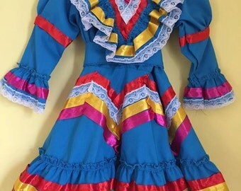 Mexican dress Jalisco folk cinco de mayo day of the dead mexican party folk frida kahlo fiesta mexicana baby girls jalisco ribbon dress