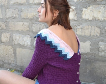 Sweater/jacket purple hand-knitted