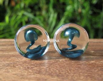 "Magic Mushroom Plugs Pyrex Glass Unobtanium 0g 00g 7/16"" 1/2"" 9/16"" 5/8"" 3/4"" 1""  8 mm 9.5 mm 10 mm 12 mm - 25.4 mm"
