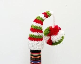 Santa Midget Hat Wine Bottle Topper, Red green white, Knitting Wine Bottle Topper, Knit Christmas, Christmas Gifts, Wine Cozy