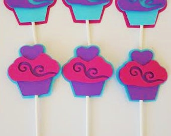 Pink, Purple and Turqouise Cupcake Toppers