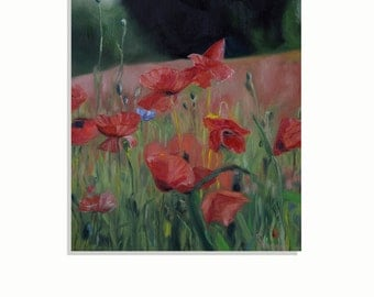 Red Poppy Painting - Gift for Mom - Red Poppies - Poppy Painting - Original Oil Landscape Painting - Poppy Wall Art - Poppy Decor