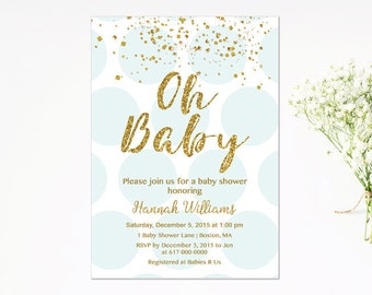 Blue and Gold Baby Shower Invitation, Blue and Gold Confetti Baby Boy Shower Invitation, Polka dots Henry Digital JPEG PDF Printable
