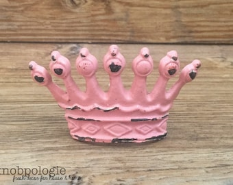 Pink CROWN Knob - Drawer Pull - Distressed Pink Whimsical Princess Tiara Furniture Decor - Prince or Princess Nursery - Fairytale