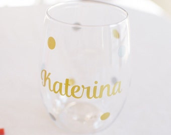 Personalized wine glasses, PLASTIC wine glasss, Govino wine glass, Bridesmaid gift, stemless wine glass