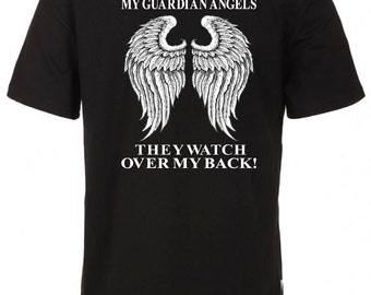 My Guardian Angel, Grandparents Guardian Angel Tee, They Watch Over My Back Tee, Memorial T-Shirt, In Loving Memory, Grandparents In Heaven