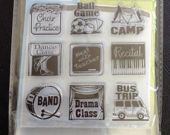 Clear Stamps Set, Mini Stamps, Bus Trip, School Theme, 9 Clear Stamps & 1 Clear Stamp Block, Scrapbooking, Planner Decorations, Inkadinkado