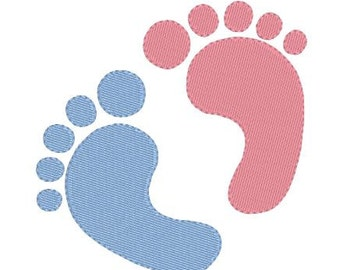Embroidery Design Newborn Baby Footprint Feet Filled Design Instant Download