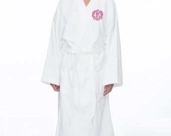 Monogrammed Long Terry Robe, Personalized Terry Bath Robe, Custom Terry Cloth Spa Robe, Monogrammed bath robe