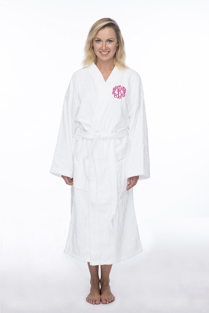 monogrammed long terry robe personalized terry bath robe