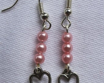 Earrings with hearts and coloured beads