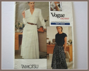VOGUE Career EASY Shirt, Top and Skirt Sewing Pattern, UNCUT Vogue 2035, Tamotsu, size 14, 16, 18, sleeveless top, flared skirt pattern