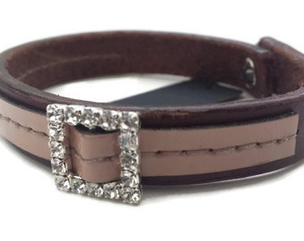 Sale 40% off Simple Leather Wrist Cuff with coloured stitches with cream patent leather/Gifts for her