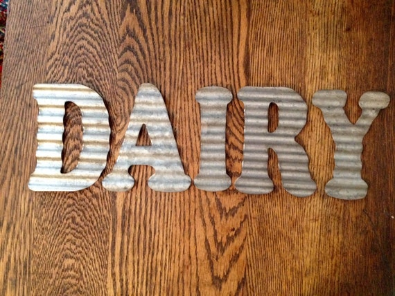 Items similar to galvanized metal letters dairy industrial for Kitchen letters decoration
