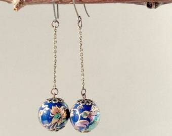 Antique Bronze Chain Long Earrings Oriental Floral Printed Beads - Navy blue