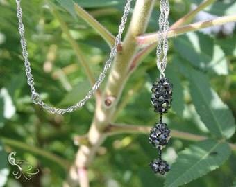 pendant necklace, beaded necklace, beaded jewelry, handmade jewelry, swarovski crystal, crystal necklace, beaded pendant, geometric necklace