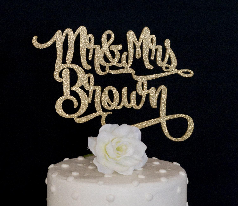 Custom Name Mr and Mrs Wedding Cake Topper