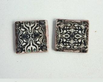 Polymer clay beads, 2 Square flat beads,Pattern art beads,Mismatched beads,Black white Boho artisan beads,Unusual beads,Image transfer beads