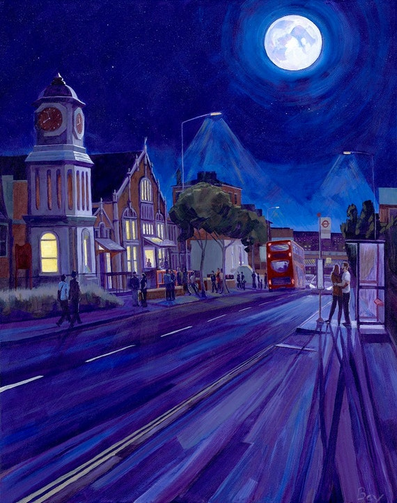 "Moon Over Stanley, print, 16X20"", South London by moonlight"