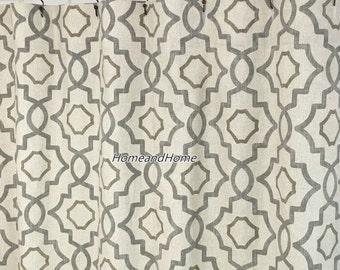 Fabric Shower Curtain Talbot Metal Grey Beige Cream Long 72 X 84 108 Extra