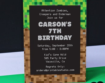 Video Game Invitation INSTANT DOWNLOAD  - Printable Video Game Inspired Invitation by Printable Studi