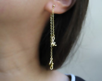 Gold Initial Earrings - cursive letter ear jacket, long mismatched stud, nickel free front back earrings