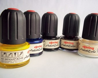 Vintage Ink, Rotring Artist Ink Color Set, 5 Colors of Yellow, Blue, Brown, Black & White Vintage Art Supply Drawing Ink