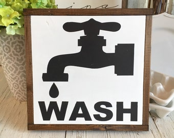 Wash | Vintage - Farmhouse Bathroom Sign | 13 x 13
