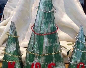 Reduced *****three upcycled wood christmass trees