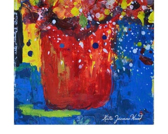 Red & Yellow Flower Painting. Acrylic Abstract Still Life Floral Art. Palette Knife Painting. Bedroom Wall Decor. Apartment Wall Art 182