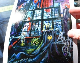 7x10 Batman VS Superman, gift for comic fans, Cover YS Magazine, Shadow of a God, by Cole Brenner, Comic Book, abstract, Pop Artist