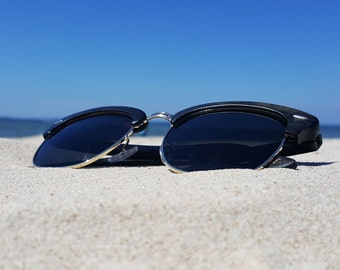 Clubmaster Black Bamboo Wood Sunglasses with Gold or Black edge. Half Frame Glasses by WOODEER