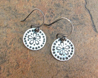 Silver Flower Disc Earrings - Hand Stamped Disk Earrings - Folk Earrings - Flower Print Metal Earrings - Bohemian Style