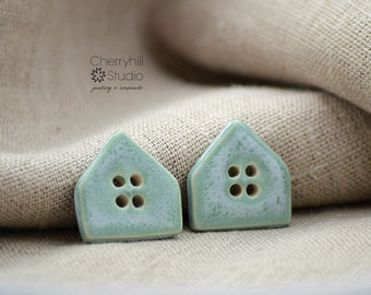 House Buttons in Mellow Sage, Ceramic Buttons, Ceramic House Buttons, Sew on Buttons