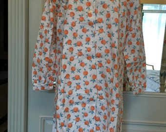 Vintage 1960 nightgown Old stock pure cotton.Never used white/Blue/ orange Large For women clothing 1960s clothing women sewing costume