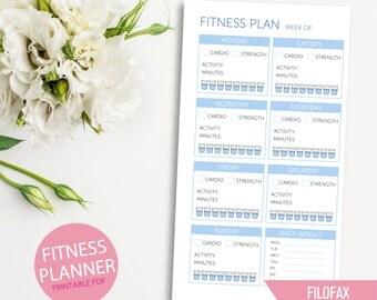 Printable Fitness Planner Insert for Filofax Personal, Weekly Planner Insert Printables, Filofax Inserts, Kikki K Planner Medium
